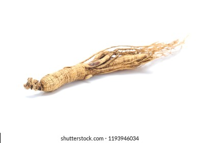 Ginseng root isolated on white background.Herbal health concept.