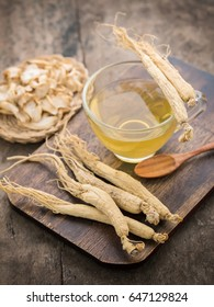 Ginseng tea. Concept of healthy drink.