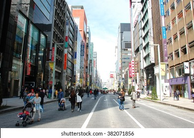 Ginza Tokyo, April 17 2015: Ginza is a luxurious shopping area of Tokyo. It attracts many foreigners. Bakugai (explosive buying) by Chinese tourists has been a recent phenomenon.