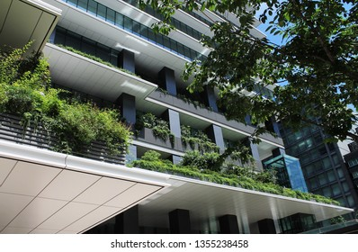 Ginza, Tokyo, Japan -  07.02.2018: An ofice building in the Giza district covered by outdoor vertical gardens.