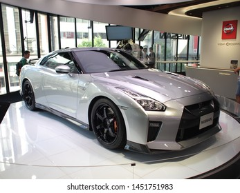 GINZA, TOKYO, JAPAN - June 27th, 2019: 2019 Nissan GT-R displayed at the Nissan Crossing, Nissan's flagship showroom in Ginza, Tokyo, Japan.