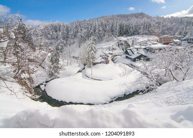 Ginzan Onsen, a hot spring area of Obanazawa City in Yamagata Prefecture, Japan.