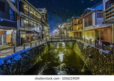 Ginzan Onsen, Night View of Famous Hot Springs Old Town in The Snow, Obanazawa, Yamagata , Japan