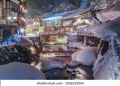 Ginzan Onsen, Night View of Famous Hot Springs Old Town in The Snow, Obanazawa, Yamagata , Japan