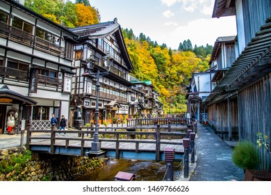 Ginzan onsen, Yamagata, Japan - October 25, 2017 : Many tourists come to this village in autumn for fall foliage scene with the ancient town.