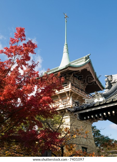 Gion Tower in Daiunin Temple during autumn. This temple for famous samurai is a popular sight on the way to Kiyomizu temple.