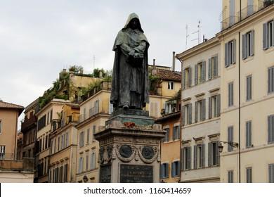Giordano Burno's statue in Piazza Campo de 'Fiori, Field of Flowers Square. Rome, Italy.
