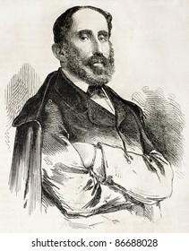 Giorgio Trivulzio Pallavicino old engraved portrait, Italian patriot. Created by Bayard, published on L'Illustration, Journal Universel, Paris, 1860