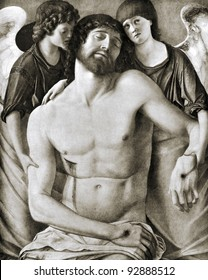 """Giovanni Bellini  Dead Christ Between Two Angels (1464-1468).  Reproduction from illustrated Encyclopedia """"Treasures of art"""" Partnership «Prosvesheniye», St. Petersburg , Russia , 1906"""
