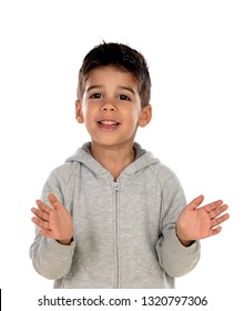 Gipsy child with grey clothes clapping isolated on a white background