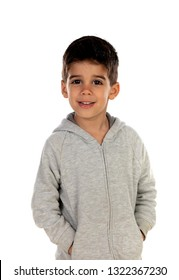 Gipsy child with grey sweatshirt isolated on a white background