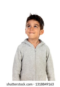 Gipsy child with grey sweatshirt looking up isolated on a white background