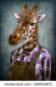 Giraffe in clothes. Man with a head of an giraffe. Concept graphic in vintage style with soft oil painting style.