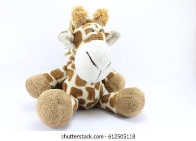Giraffe doll on white background