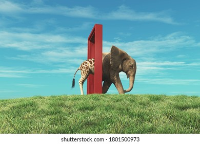 Giraffe entering a door and gets out as an elephant . Changing mindset and different approach concept . Life changing decision and new opportunities . This is a 3d render illustration .