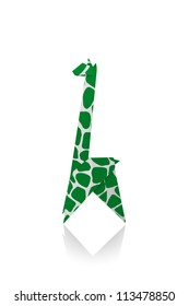 Giraffe Green paper isolated on a white background, Origami.