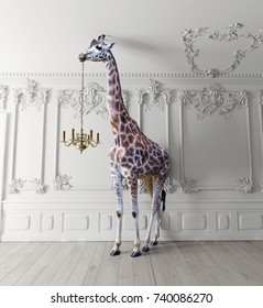 the giraffe hold the chandelier in the luxury decorated interior. photo and media mixed