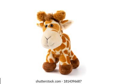 Giraffe plushie on white background Giraffe plushie Brown