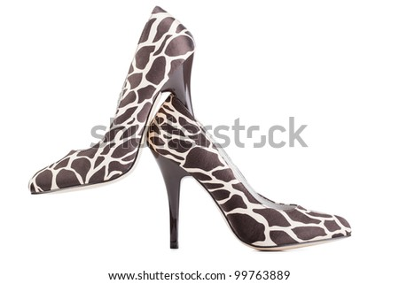 28049fafa2 Giraffe Print High Shoes On White Stock Photo (Edit Now) 99763889 ...