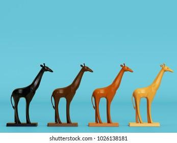Giraffe sculptures in warm color on blue background. 3d rendering