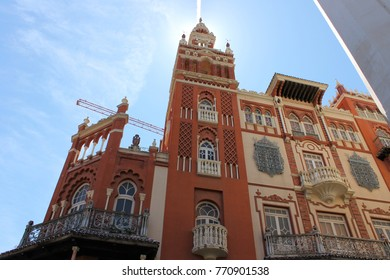 The Giralda, located near Plaza de la Soledad, Badajoz, Extremadura, Spain. A replica of the Giralda in Sevilla built in neo-Arab Andalusian regionalist style