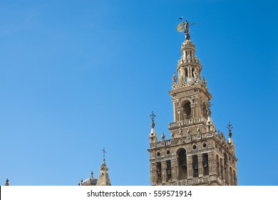 Giralda of Seville with blue sky, Andalusia, Spain