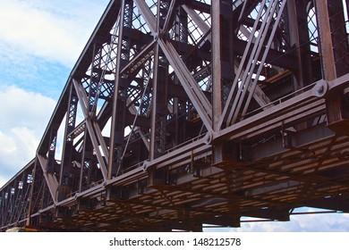Girders of a steel bridge crossing the Allegheny River near Pittsburgh, Pennsylvania.