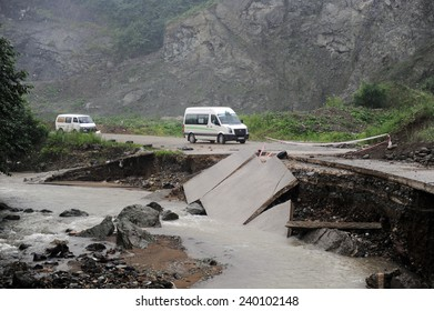 GIRESUN,TURKEY - JULY  24: Deteriorating road due to flooding in the Black Sea on July 24, 2009 in Giresun,Turkey.