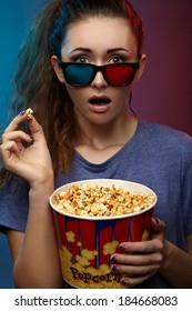 Girl in 3D Glasses. Studio photography.