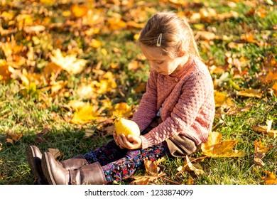 girl 4 years old walks in autumn park