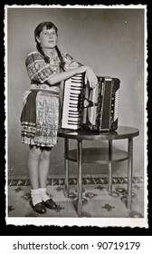girl with the accordion - photo scan - about 1955