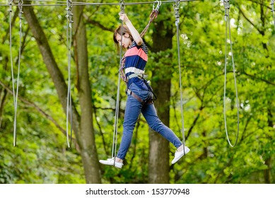 Girl in the adventure park