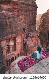 Girl in Al Khazneh Petra, the treasury, Jordan