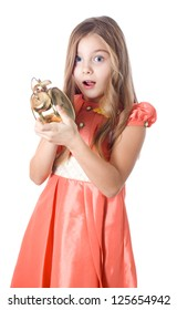 girl with alarm clock in his hands late scare