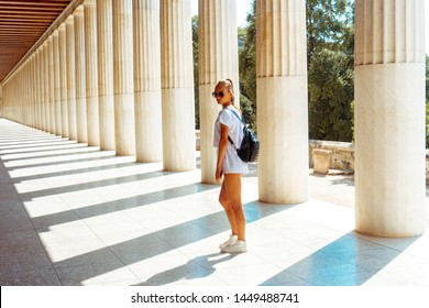girl at the ancient greek ruins