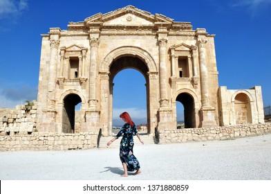 Girl in ancient Jerash city in Jordan