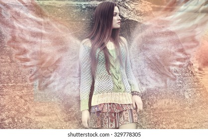 The girl an angel with wings in dreams, magic desires