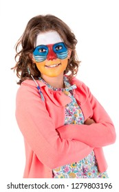 Girl with animal face-paint isolated in white
