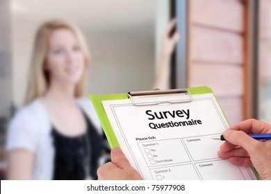 Girl Answering Market Research Survey Questionnaire Questions at the Door