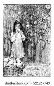 Girl in the apple garden Girl standing in the garden, eating an apple. Charcoal illustration.