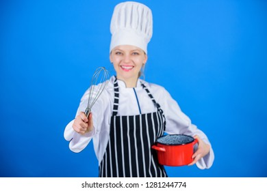 Girl in apron whipping eggs or cream. Start slowly whisking whipping or beating cream. Use hand whisk. Whipping cream tips and tricks. Woman professional chef hold whisk and pot. Whipping like pro.