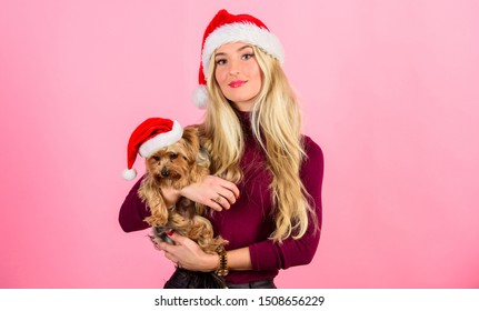 Girl attractive blonde hold dog pet pink background. Celebrate christmas with pets. Reason love christmas with pets. Ways to have merry christmas with pets. Woman and yorkshire terrier wear santa hat.
