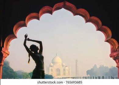 girl in the background Taj Mahal