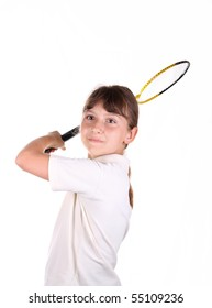 Girl with a badminton racket on a white background