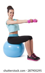 girl with ball and dumbbells