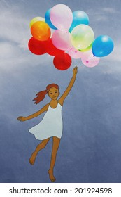 girl with balloons flying through the sky