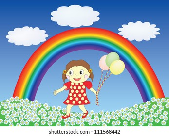 girl with balloons on a lawn under rainbow  illustration