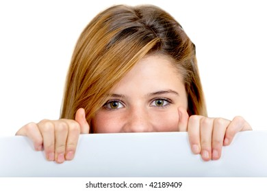 Girl with a banner isolated over a white background