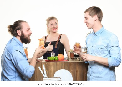 girl bartender and two visitors