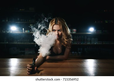girl bartender in the vape bar